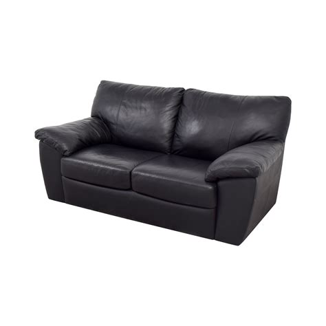 black leather couch cushions 79 off ikea ikea black leather two cushion couch sofas