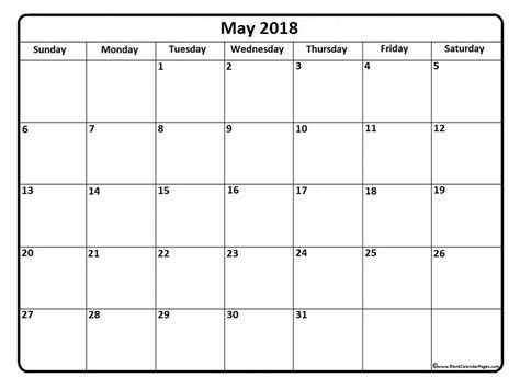 Calendar September 2017 To May 2018 May 2018 Calendar May 2018 Calendar Printable