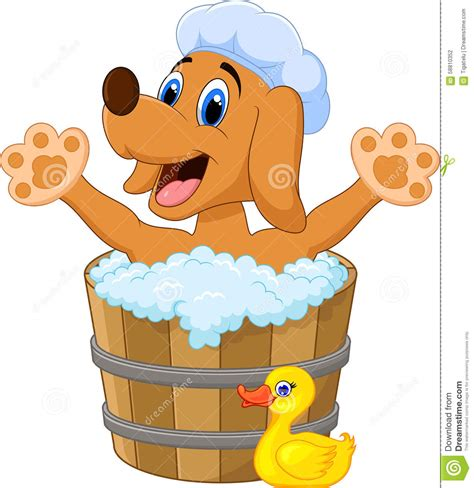 Bathtub Renew Cartoon Dog Bathing Time Stock Illustration Image 58810352
