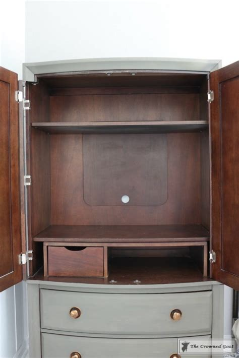 Tv Armoire Makeover by Tv Armoire To Functional Wardrobe Makeover The Crowned Goat