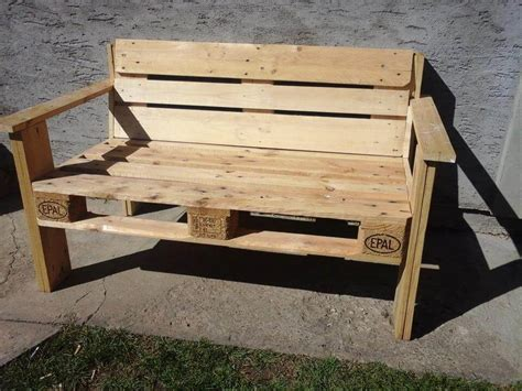 bench made of pallets diy no cost pallet sofa with cushion