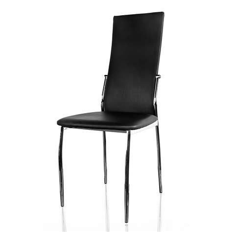 carver set of 6 modern black pu leather dining chairs