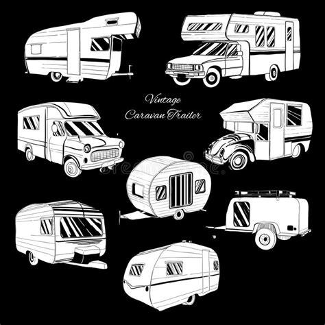 doodle trailer set isolated doodle cer trailer car