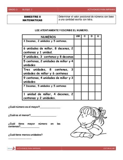 ejercicios de valor posicional para imprimir actividades para imprimir ejemplo tercer grado de primaria