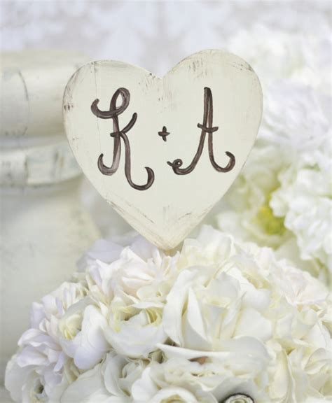 personalized wedding cake topper shabby chic heart by braggingbags