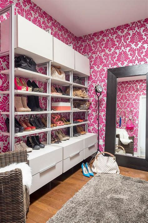 wallpaper closet hot pink majestic damask closet wallpaper contemporary closet