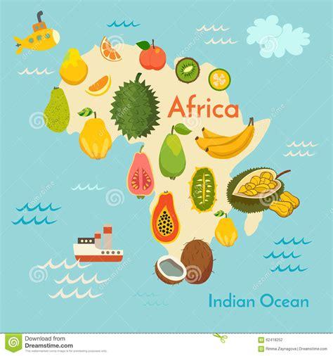 fruit d afrique carte du monde de fruit afrique illustration de vecteur