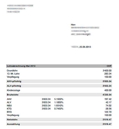 Muster Lohnabrechnung Schweiz Stundenlohn andrasoft software und webdesign