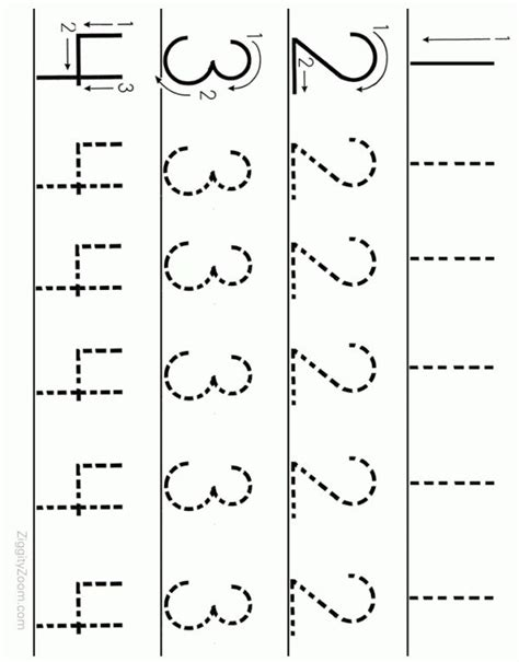 printable numbers 1 90 number tracing worksheet numbers 1 to 4 printable