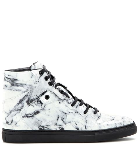 popular high top sneakers lyst balenciaga leather high top sneakers in gray