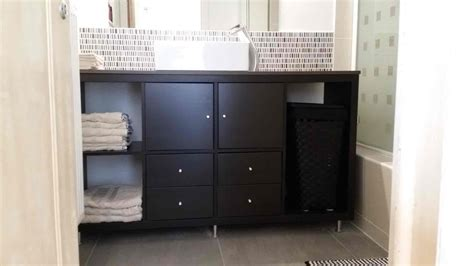 Ideas For Kitchen Decor kallax bathroom vanity for small bathroom ikea hackers