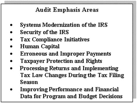 Text Box Audit Emphasis Areas Systems Modernization Of