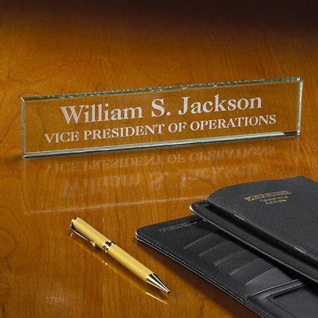 etched glass desk name plates personalized executive beveled glass desk nameplate