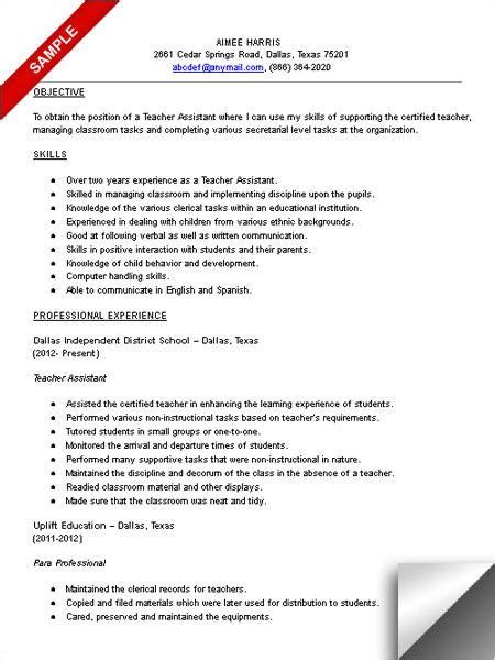 Sample Teacher Assistant Resume by Teacher Assistant Resume Sample What A Great Idea
