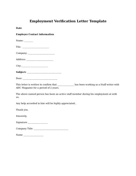 Employment Verification Letter Doe 2018 proof of employment letter fillable printable pdf forms handypdf