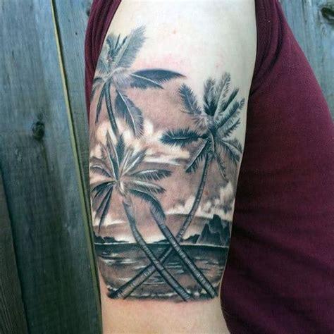 palm tree tattoos  men tropical design ideas