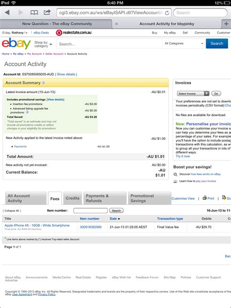 ebay seller account what does it mean when my seller account summary s