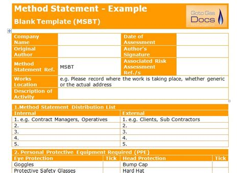 method statement template for construction method statement blank template