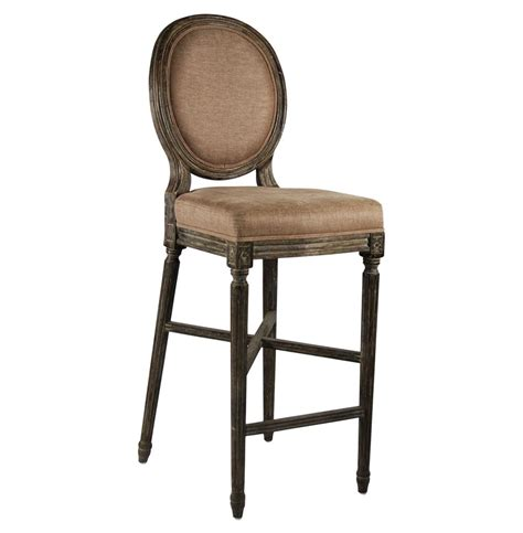 medallion oak country bar stool in copper linen - Country Bar Stools