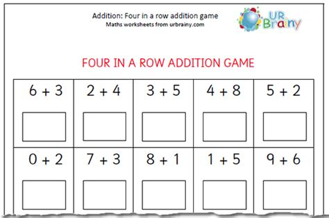 printable worksheets for year 1 year 1 addition four in a row game maths blog