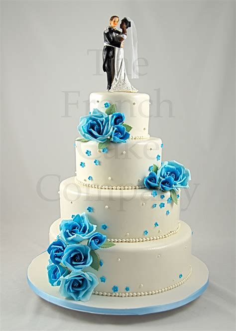 Wedding Cake Blue Flowers   Piece Montee Mariage Fleurs