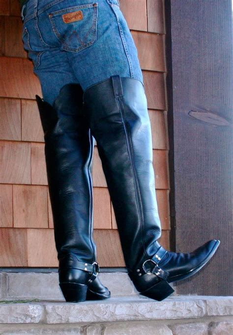 mens thigh high cowboy boots mens caboots 28 quot thigh high motorcycle cowboy harness