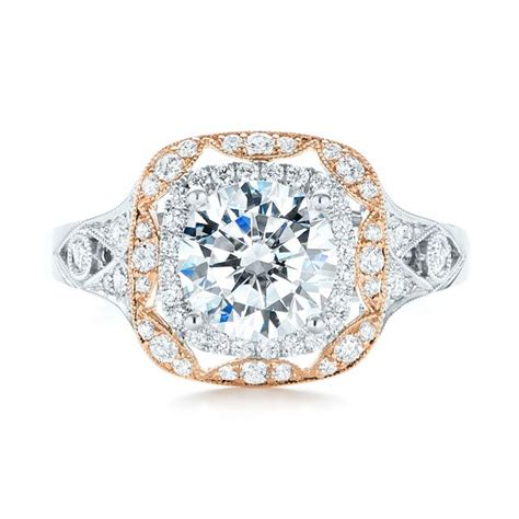 Two Tone Halo Engagement Ring - two tone halo engagement ring 103045 seattle