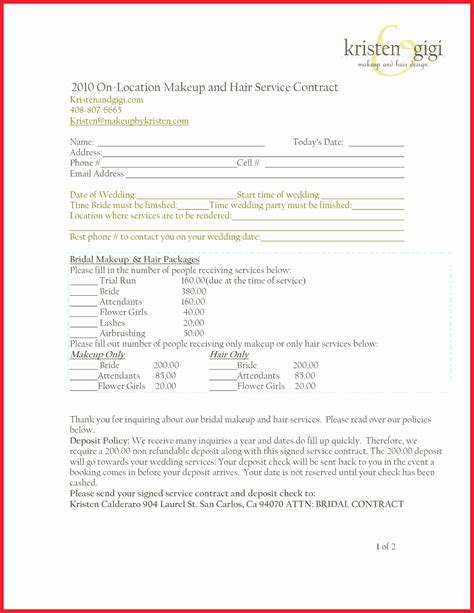 50 Luxury Makeup Artist Contract Template Documents Ideas Documents Ideas Wardrobe Stylist Contract Template