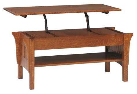 amish mission lift top coffee table