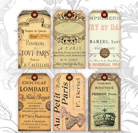 gift tags vintage clipart finders printable ephemera gift tags collage sheet