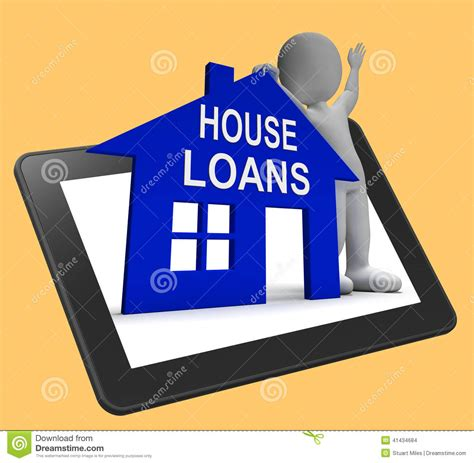 interest free house loans house loans home tablet shows borrowing repayments and interest stock illustration