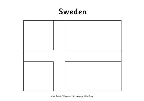sweden flag colouring page