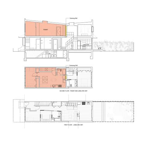 row houses floor plans brooklyn row house office of architecture archdaily