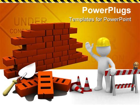 construction powerpoint presentation templates 3d illustration of bricks wall construction white