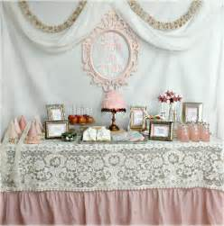 vintage birthday decorations like the lace on the pink tablecloth princess tea