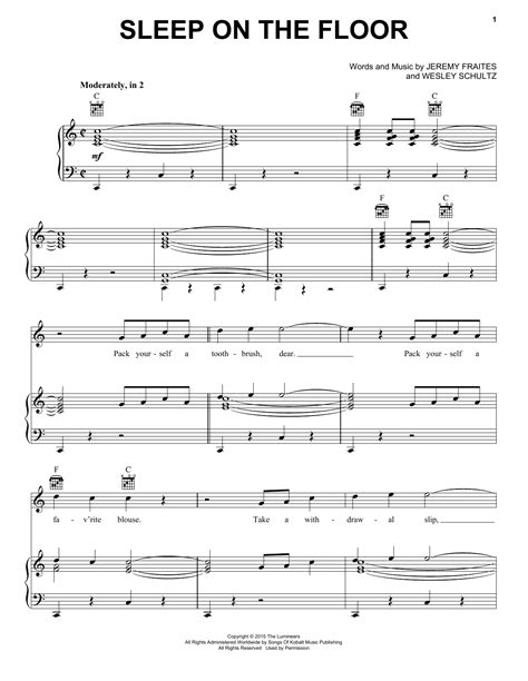 sleep on the floor lyrics sleep on the floor sheet music by the lumineers piano