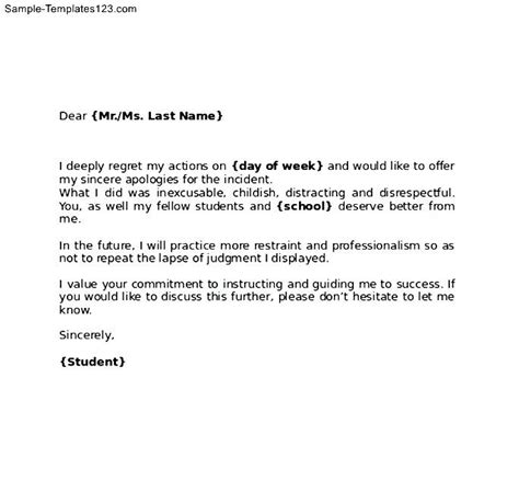 Draft Apology Letter To How To Write An Apology Letter To Your School Sle Templates