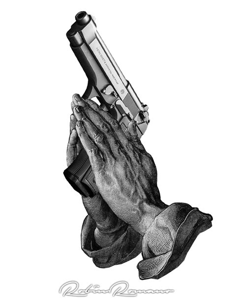 praying hands gun by robin romano inkbay