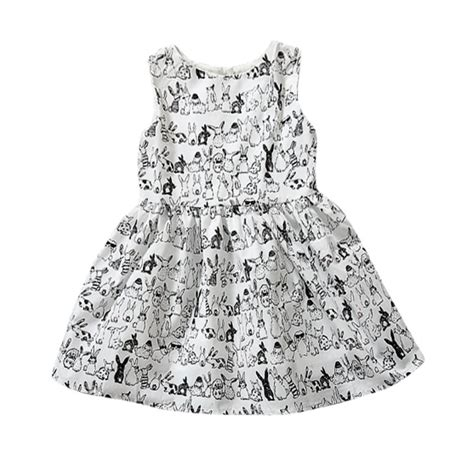 rabbit pattern clothes baby girl sleeveless cartoon dress infant white bunny
