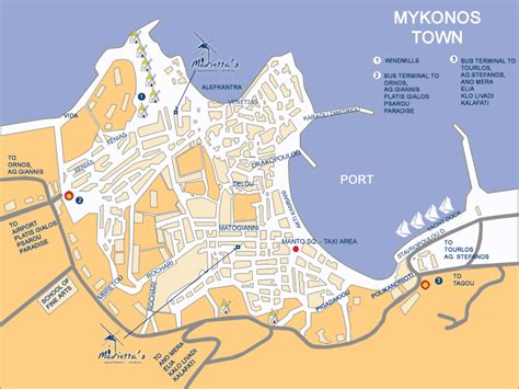 mykonos map mykonos map of mykonos town attractions