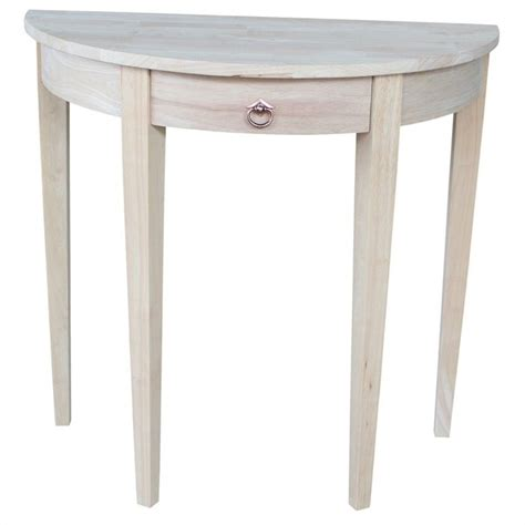 small half moon console table with drawer international concepts home accents unfinished 1 drawer