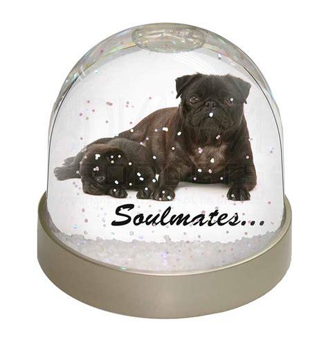 pug snow globe black pug dogs soulmates photo snow globe waterball filler gift id 57499