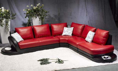 red leather modern sofa red black leather modern two tone sectional sofa