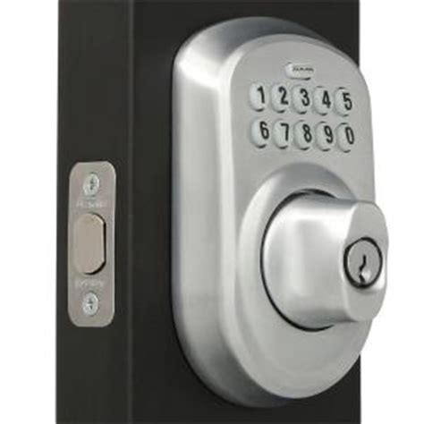 schlage plymouth satin chrome keypad deadbolt be365 ply