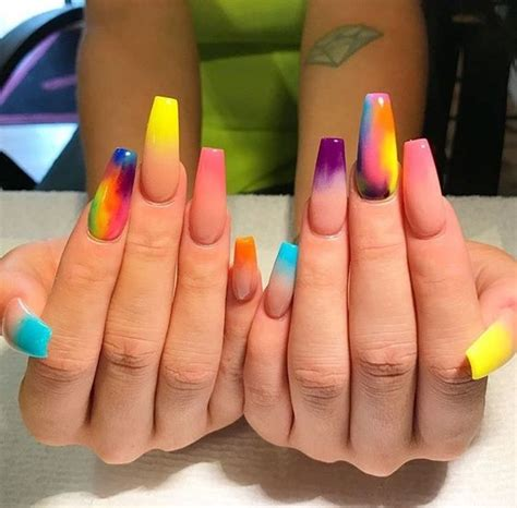 multi colored nails multicolored coffin nails n a i l s acrylic nails