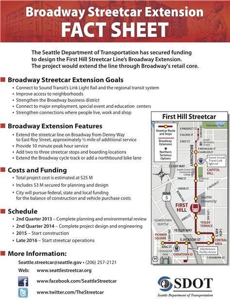 event fact sheet template broadway streetcar extention will include cycle track