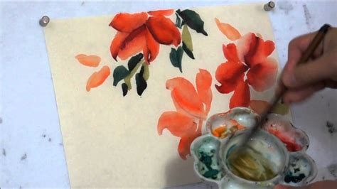 new year flower painting how to paint hibiscus watercolor painting