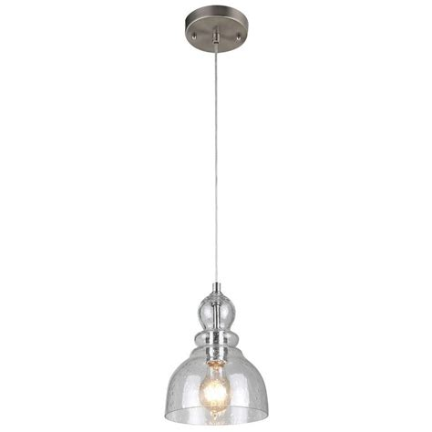 Nickel Pendant Light by Westinghouse 1 Light Brushed Nickel Adjustable Mini Pendant With Blown Clear Seeded Glass