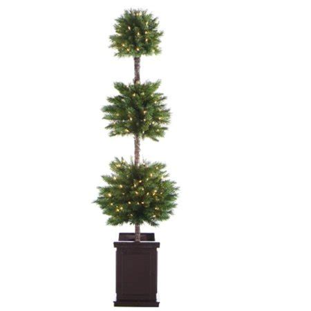 pre lit christmas topiary trees 6 pre lit potted artificial topiary tree clear lights walmart