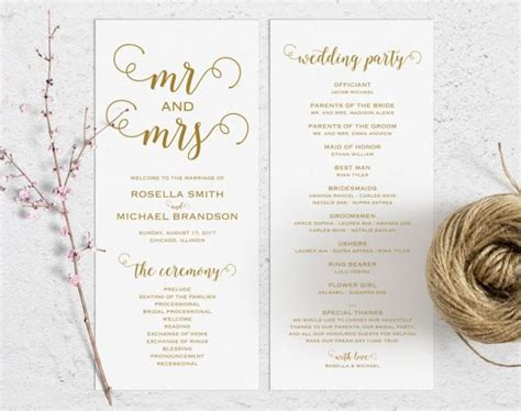 gold wedding program template wedding ceremony program